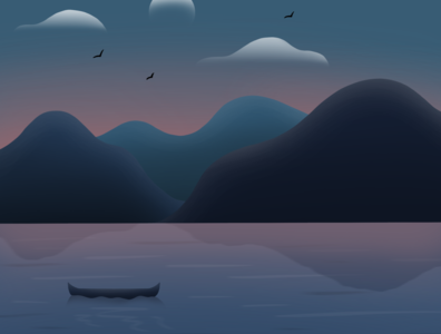 A Boat in the Lake procreate illustration ripple landscape mountains birds moon clouds night water lake boat