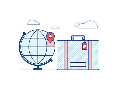 Travel Illustration flight tag clouds sky location suitcase globe earth illustration travel