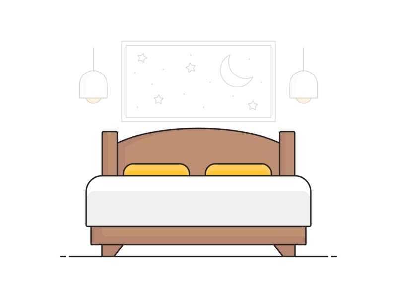 Bedroom Illustration design vector phonepe wood lights pillow cot room bed illustration