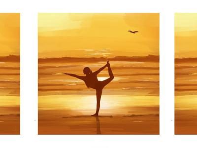 Sunset Yoga painting woman beach sunset illustration acrylic