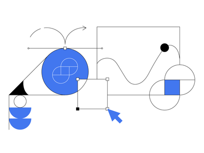 Cryptopedia - Gemini Dollar cryptocurrency crypto flat blue black line illustrator adobe illustration