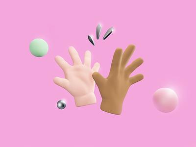 Highest of the High Fives! high-five pink design 3d art 3d blender illustration
