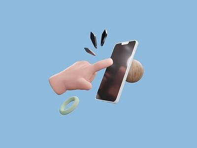 Digital dependency iphone hand blender 3d illustrator illustration