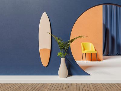 Render #9 - Surf illustration surfing cycles architecture color blender 3d surf