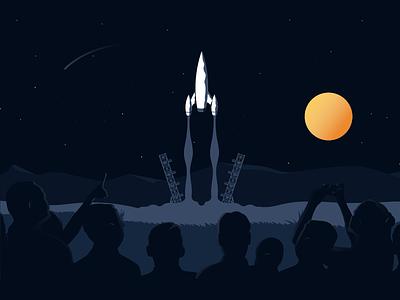 Houston, we have lift off! lift people dark stars space vector illustrator illustration rocket