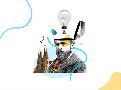 Akasha Barcelona Illustration illustation collage barcelona photoshop line blue illustrator animation adobe illustration