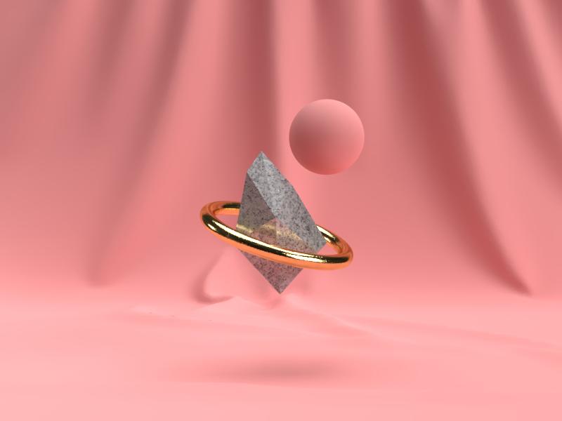 Random 3D Tests on Dimension rendered pink gold light 3d dimension render photoshop motion flat design adobe illustration