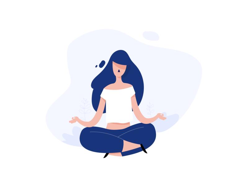 Meditate vector color draw flat line blue illustrator animation adobe illustration