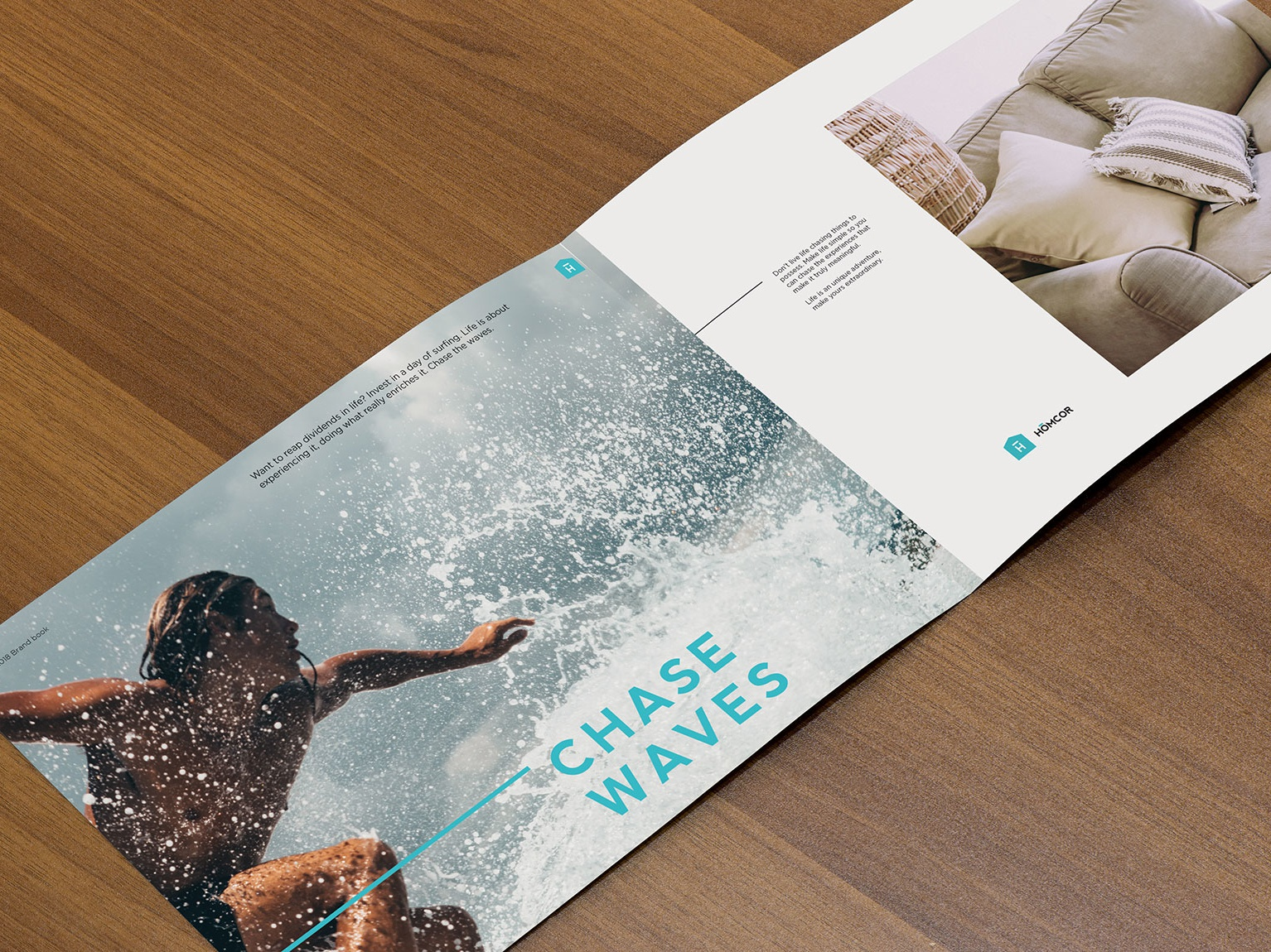 Homcor Catalog 3 beach life industrial home home goods sofas sofa brochure design brochure catalog design catalog action sports water waves ocean beach surfing surf