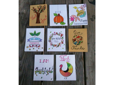 Thanksgiving cards paper and pen