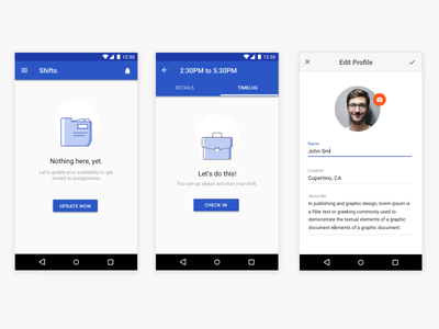 On demand staffing app states zero visual ux concept ui app mobile design material profile edit