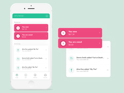 Splitwise Redesign Concept ui design inspiration design app visual design ui concept mobile app design ui exploration ux ui design