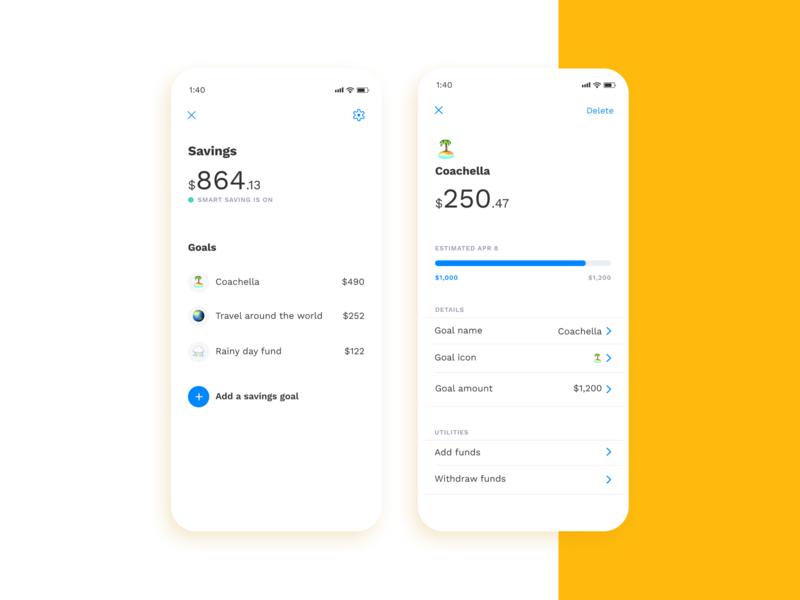 Albert Savings mobile ux ui saving goals fintech finance clean savings app albert