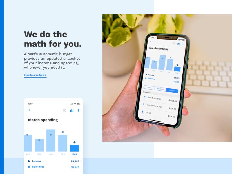 We do the math for you design savings saving web mobile spending money graph ux ui chart goals fintech finance clean budget app albert