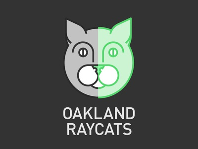 The Oakland Raycats cat raycat green gray white din two-tone