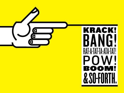 I Shot First hands illustration knockout gun handgun bang pow boom yellow first shot finger gun wood type finger bang
