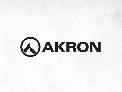 AKRON AEROSPACE logo identity corporate shadowy black and white spoooooooooooooooky