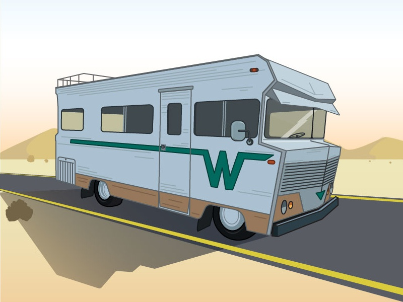 Winne for the Win vehicle vacation please travel road trip drive illustration illustrator vector winnebegos