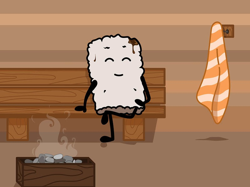 Sushi Sauna sweat out the bad feeling good illustrations of the day illustrator vector sauna sushi happy