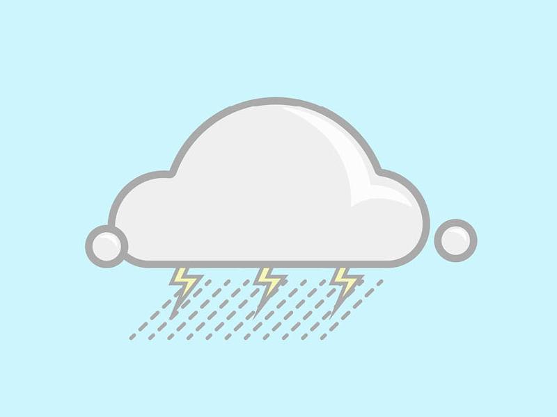 RAIN FOR DAYS simple vector illustration rain lighting thunder