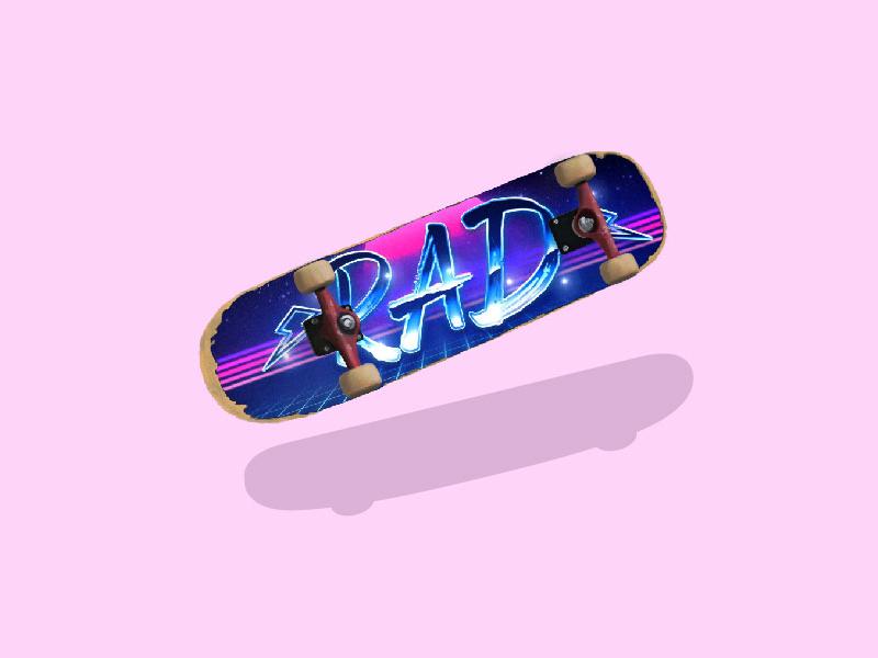Rad 80s retro skateboard skate rad