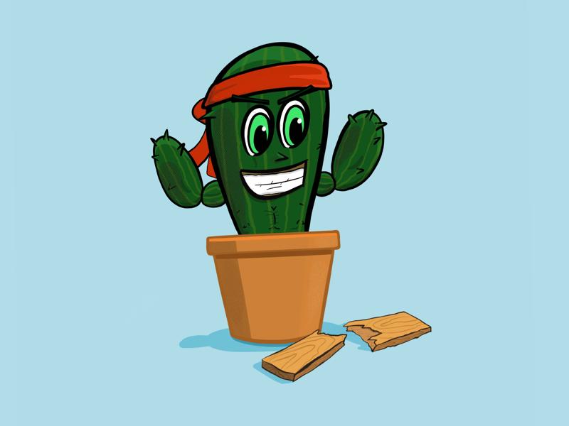 Karate Kactus procreate ipad pro ripped concept illustration vector