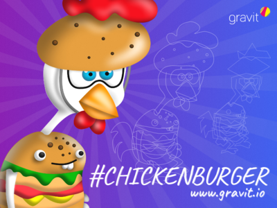 #chickenBurger Wallpaper tutorial tv twitch illustration vector gravit chickenburger wallpaper