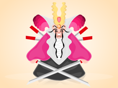 Samurai vector character illustration gravit cartoon samurai