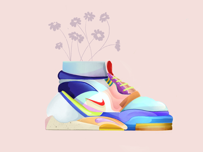 Swoosh Life floral sneakerhead sneakers summer spring style sports color athletics illustration shoes swoosh nike