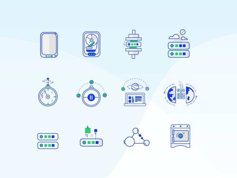 Server Iconography startup saas integrations data illustrator flat tech app icon design icons