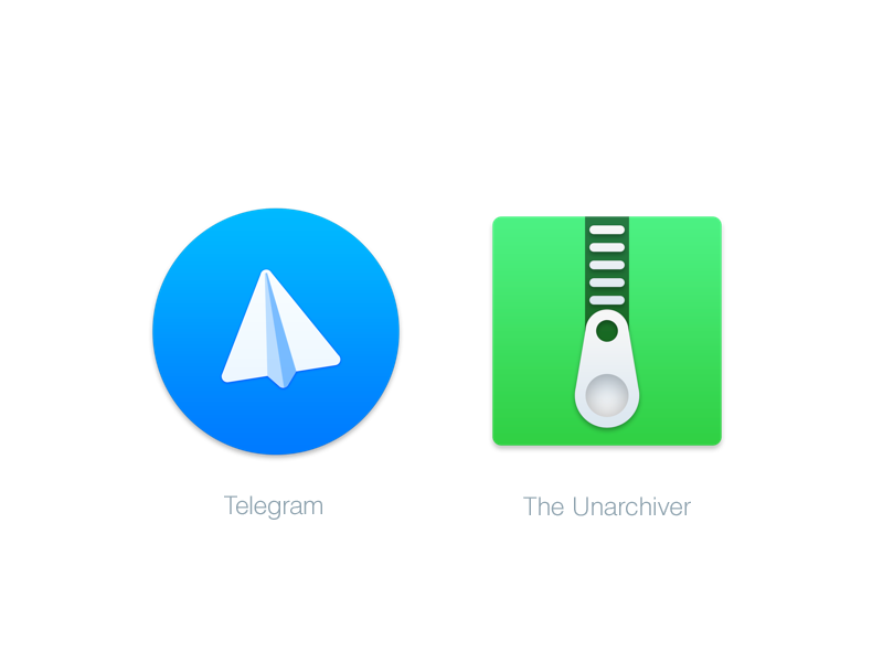 Mac Replacement Icons: Telegram & The Unarchiver by Benedikt