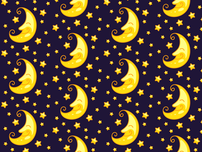 Moon And Stars Seamless Pattern