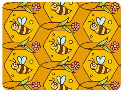 Bee Seamless Vector Pattern