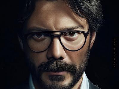 El profesor poster elprofesor alvaromorte ipadpro procreate portrait design face painting illustration digital art