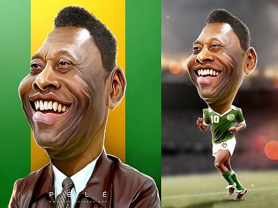pele artbyvishnu brazil pele potrait face football caricature photoshop painting digital art