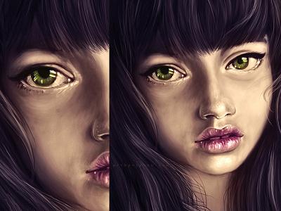 The portrait digital art tutorial wacom potoshop fancy hair smile girl