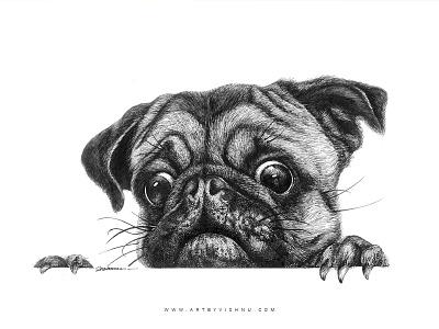 Cute pug artbyvishnu pet dotart dot lineart black pug paper pen art
