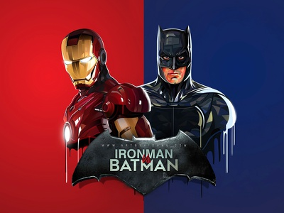 Ironman Vs Batman (low/high poly illustration) vector illustration batman