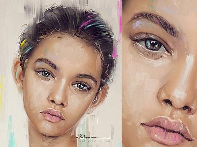 Stroke art brush photoshop cute colour portrait face painting digital