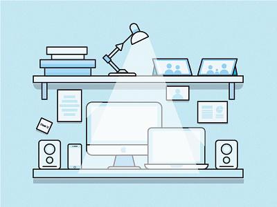 Little work corner I have at home workstation apple home blue desk illustration