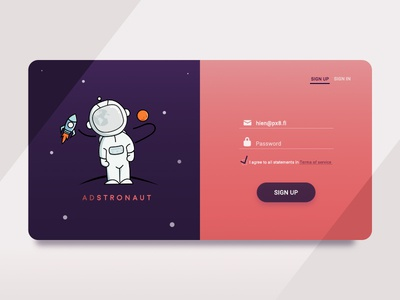 Adstronaut Sign Up Form-DailyUI #002 mars rocket space astronaut sign up form user interface ui illustration sign in sign up