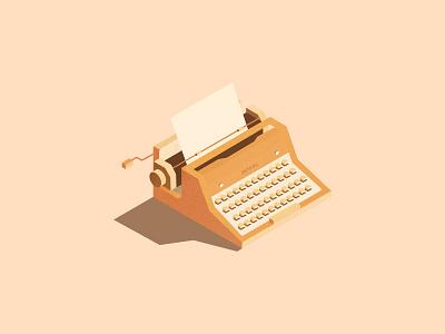 Isometric Typewriter orange typewriter illustration isometric