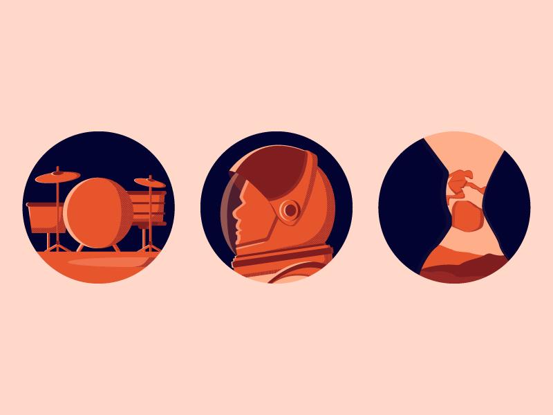 A movie icon set space movie 127hours themartian whiplash orange illustration icon