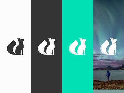 Foxfire Logo fox tail revontuli fox turquoise branding logo