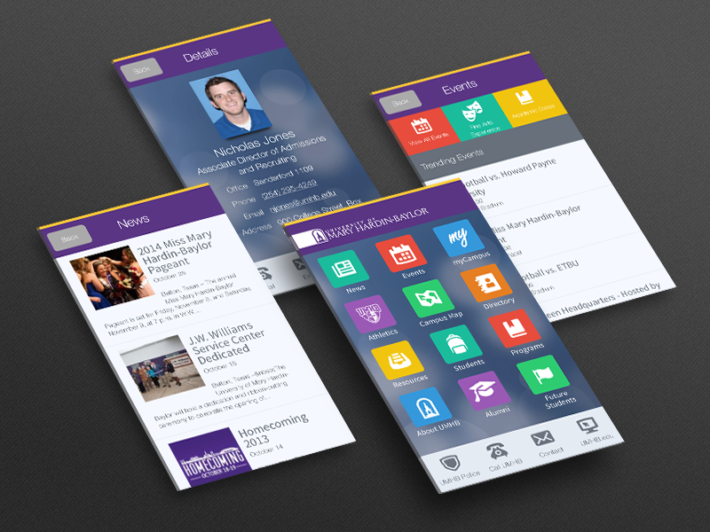 UMHB Cru Mobile App mobile university christian app ui iphone android interface