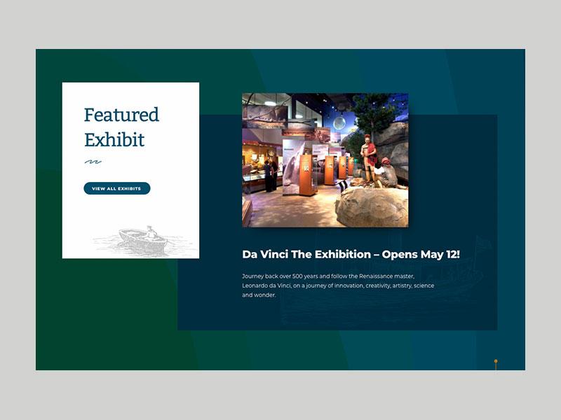 Featured Exhibit Section vintage layout website aquarium museum
