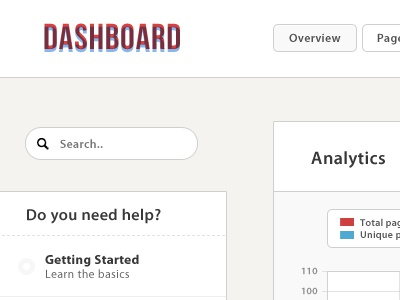 Dashboard - Header dashboard admin pages light red blue search logo button nav