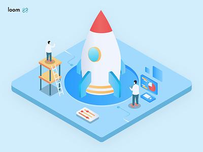 The rocket for Loomx.io website rocket illustration