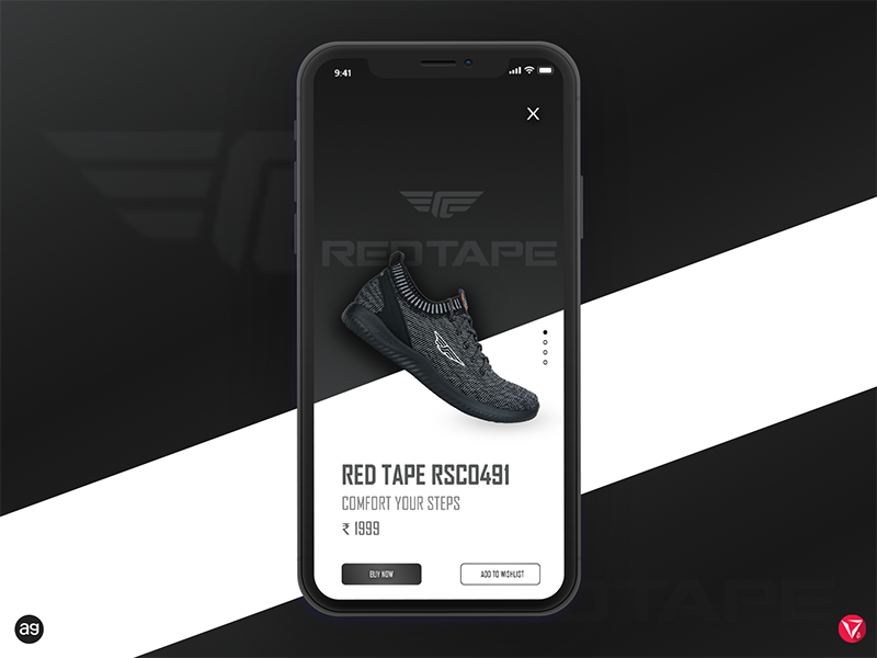 RedTape India App UI concept photoshop appdesign userinterfacedesign ux ui instashoes flatshoes black redtape shoes virtuosodesigner virtuosoalpha