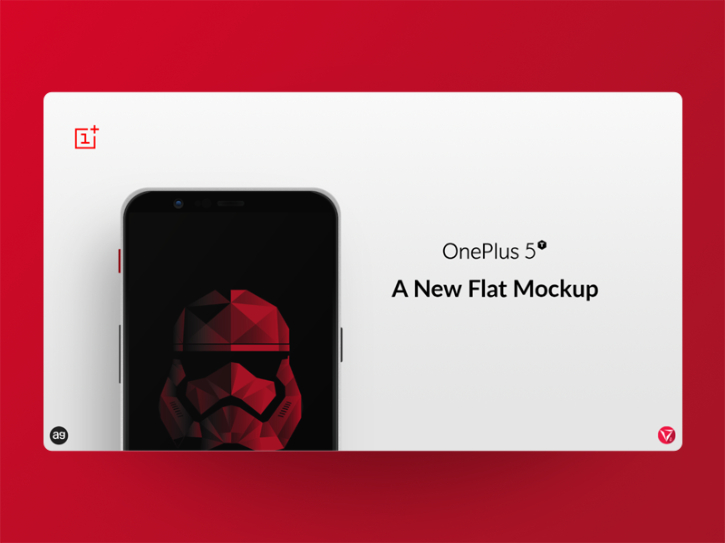 OnePlus 5T Star Wars Edition Flat Mockup photoshop appdesign userinterfacedesign ux ui oneplus star wars mockup virtuosodesigner virtuosoalpha